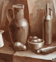 Гризайль выполненная в коричневой гамме