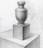 Рисование геометрических предметов. Ваза на кубе