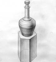 Рисование геометрических предметов. Графин на кубе