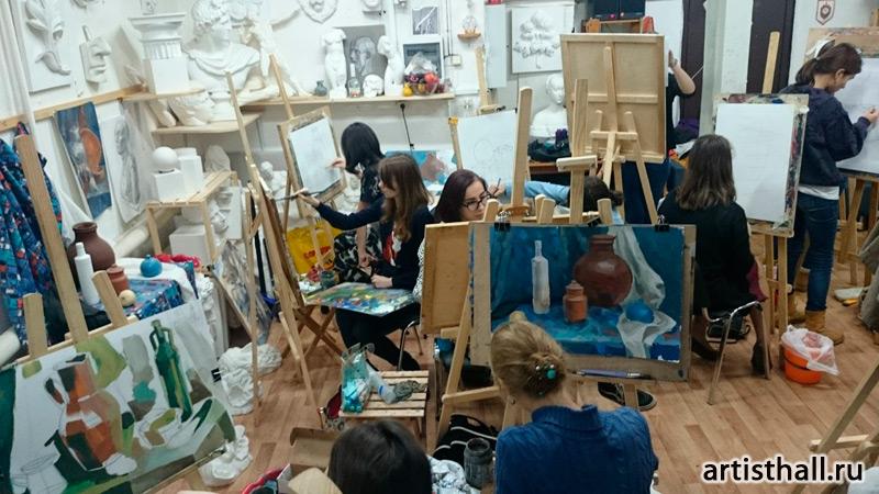Занятия живописью гризайль