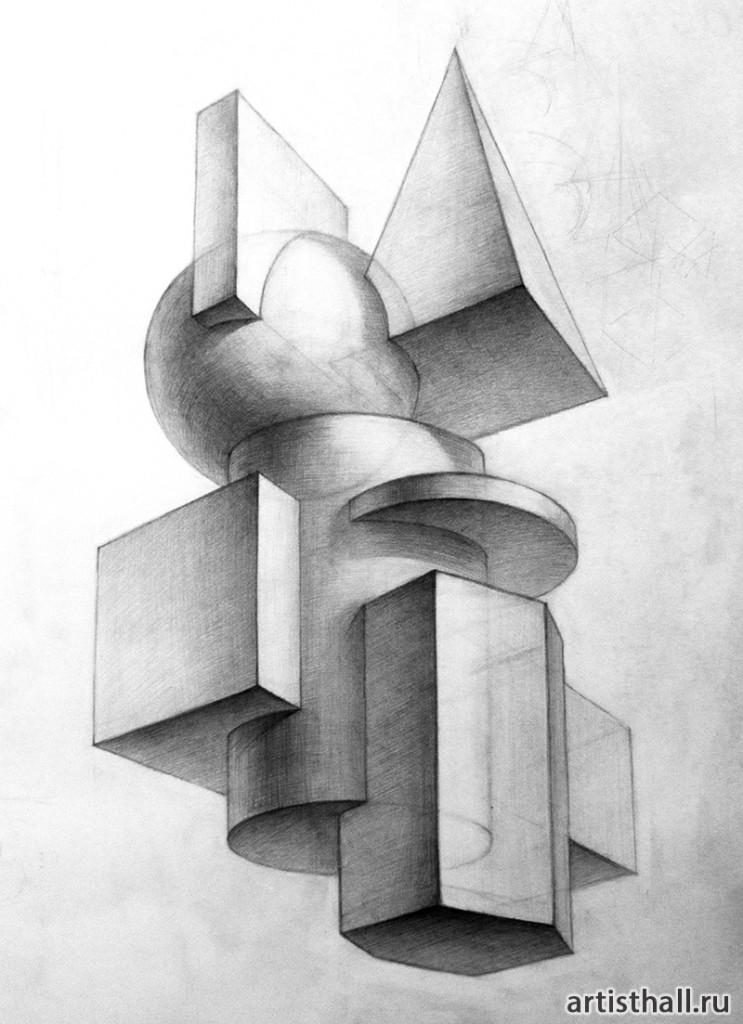 Объемные композиции из геометрических тел