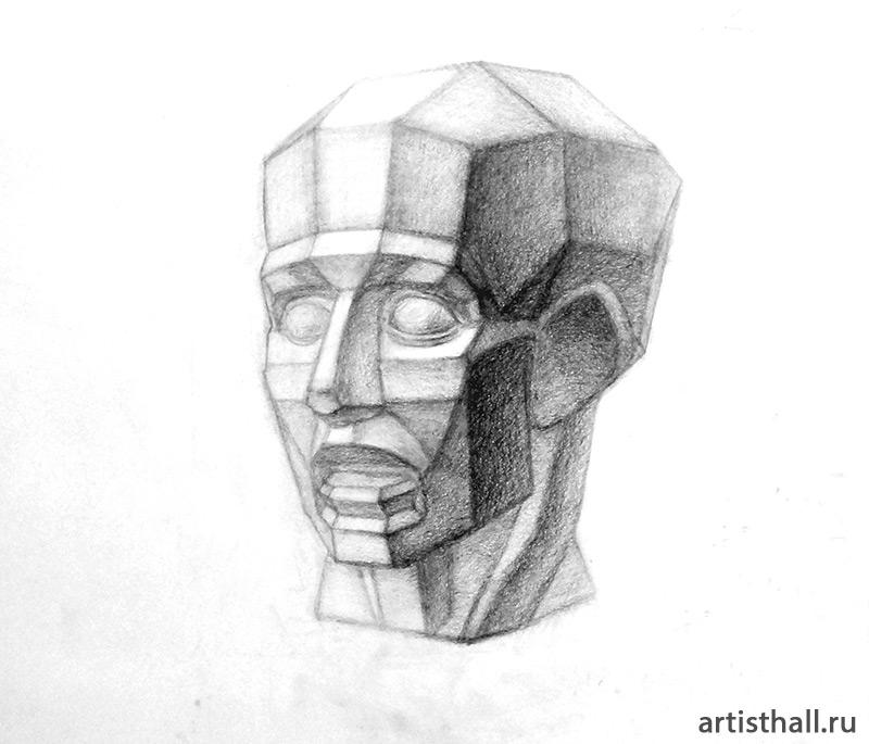 Рисование обрубовки головы на наших занятиях