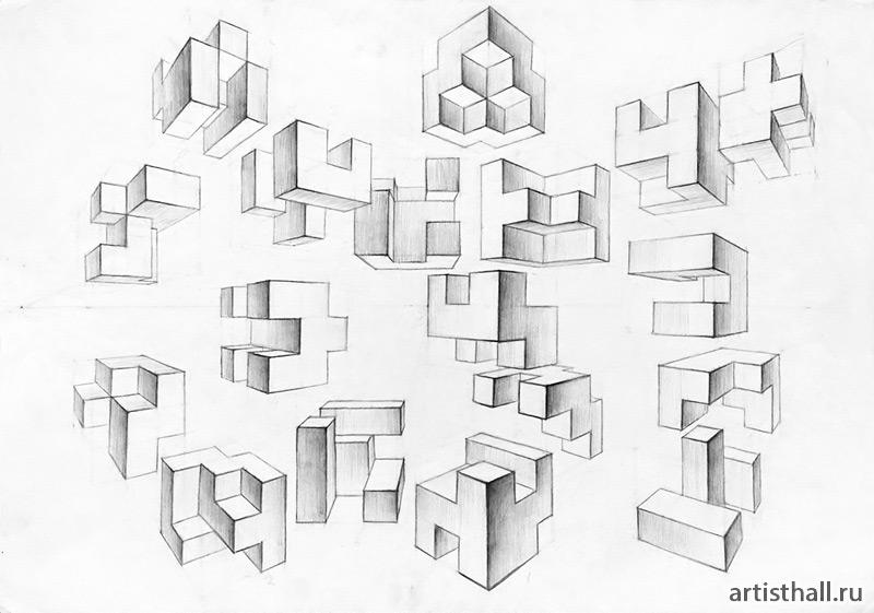 Композиция из кубических элементов