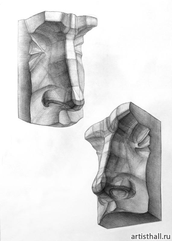 Рисование гипсовых слепков носа и губ