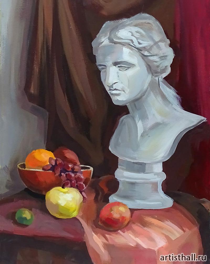 Гипсовая голова в живописном натюрморте