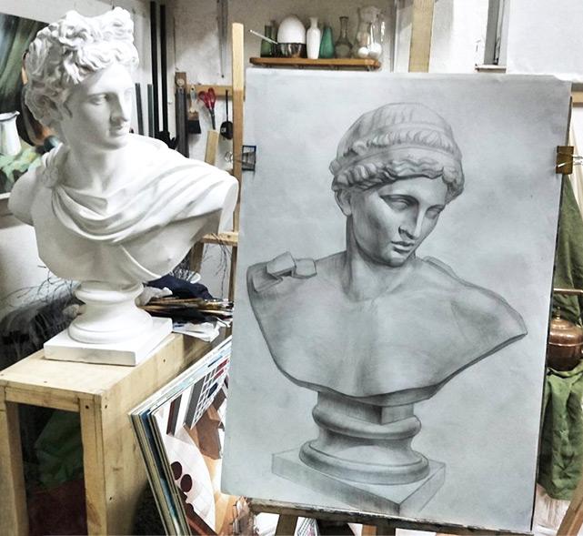 Рисунок головы с плечевым поясом