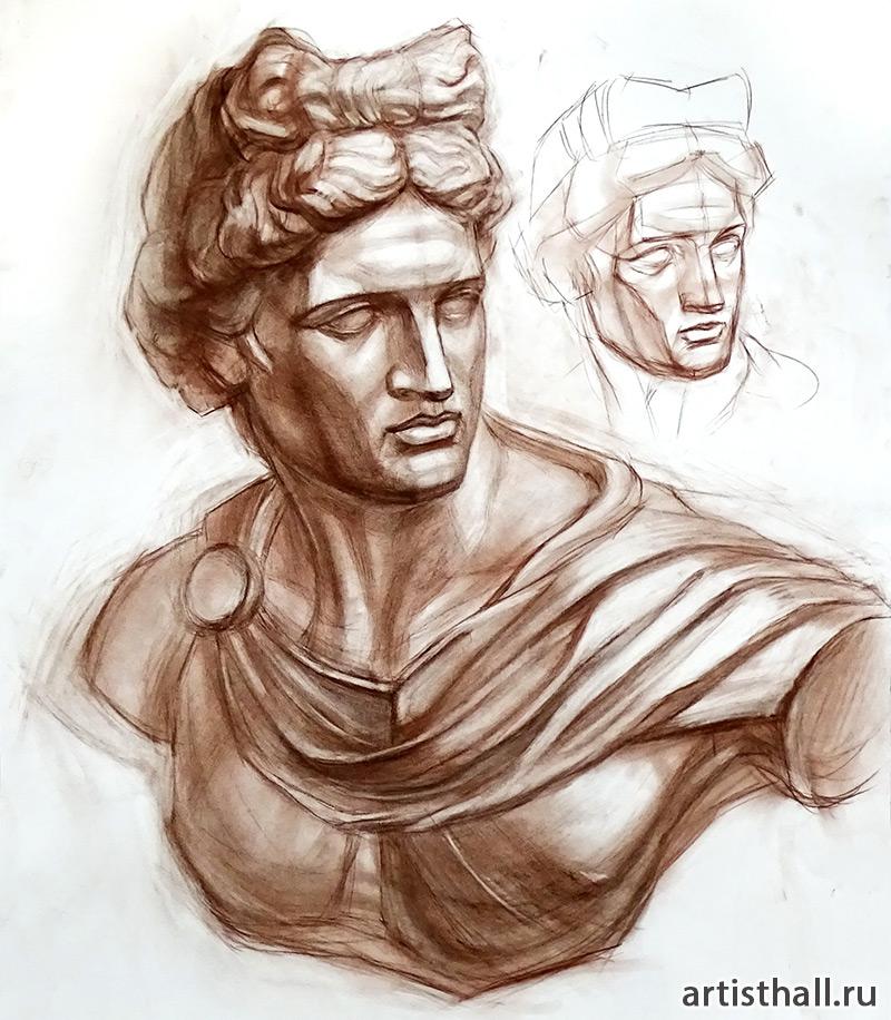 Рисунок бюста Аполлона мягкими материалами