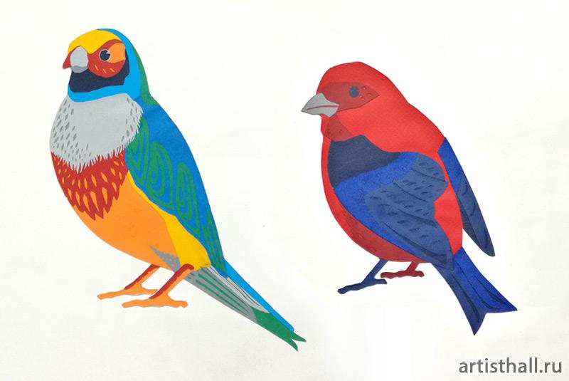Птички, аппликация вариант-1