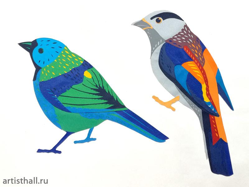 Птички, аппликация вариант-2