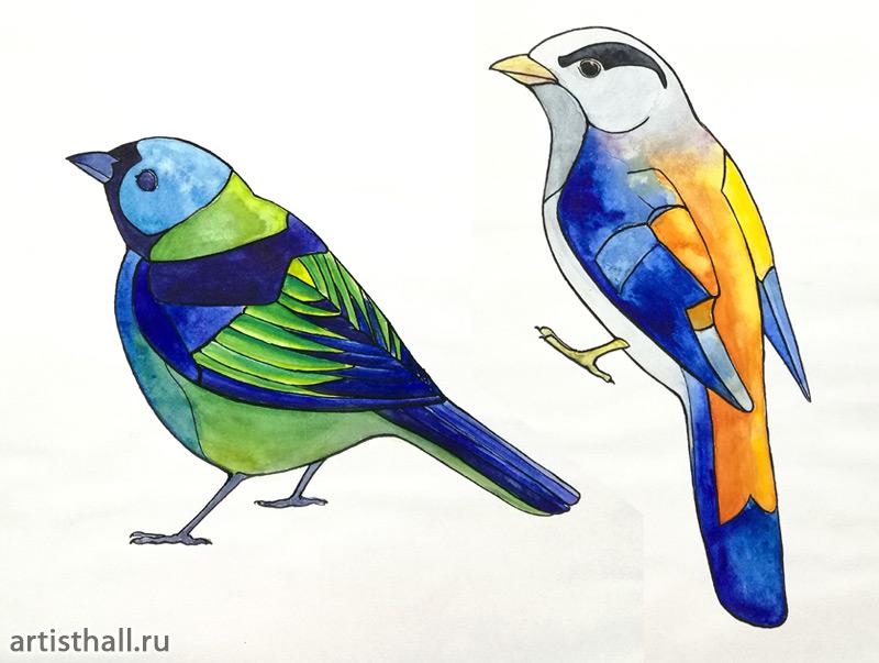 Задание Птицы - Отмывка в технике витраж-2