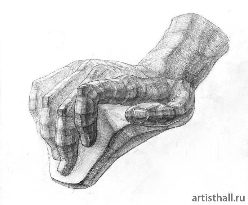 Рука Давида рисунок карандашом