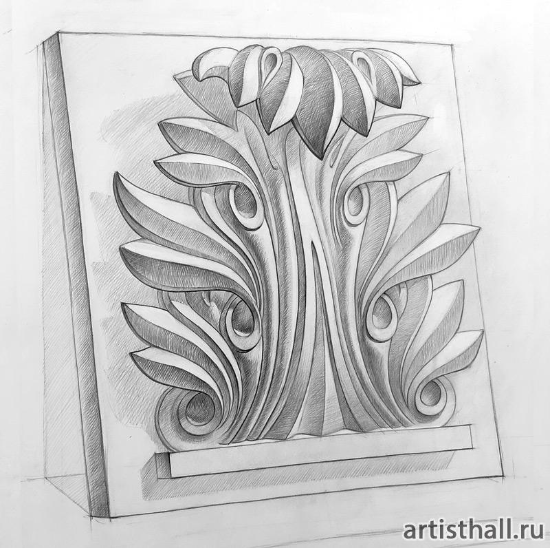 Рисунок гипсового рельефа аканта учебная работа